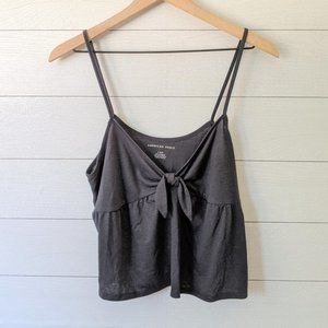 American Eagle Gray Bow Front Babydoll Tank L